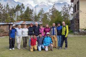 le groupe de trekkeur du tour des Annapournas au népal